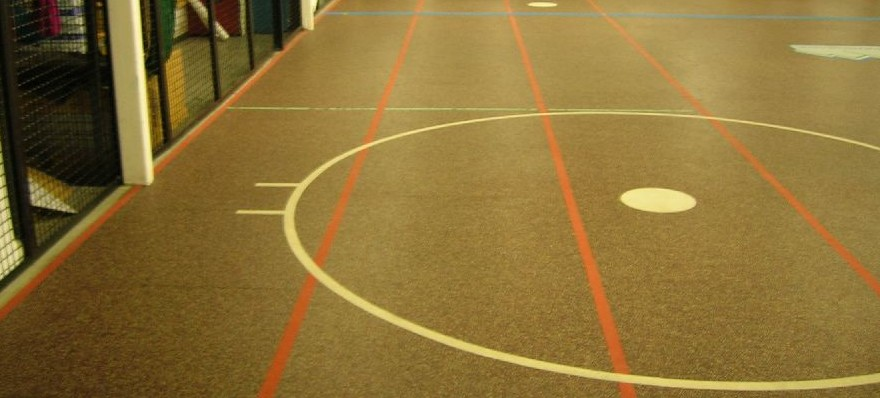 Rubber flooring with color lines